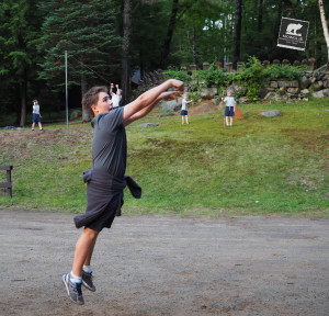 "During free time after dinner, campers initiate games of basketball, tetherball, frisbee, or ""GaGa Ball"""